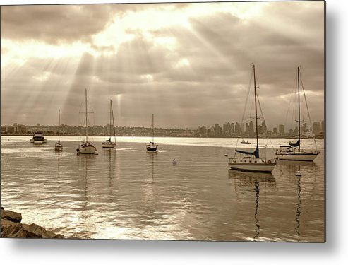San Diego Harbor Metal Print featuring the photograph Sepia And Sunbeams by Joseph S Giacalone