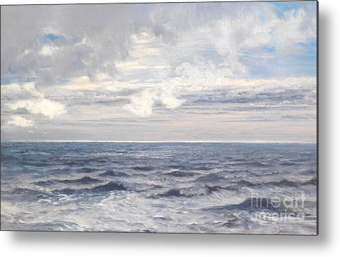 Seascape Metal Print featuring the painting Silver Sea by Henry Moore