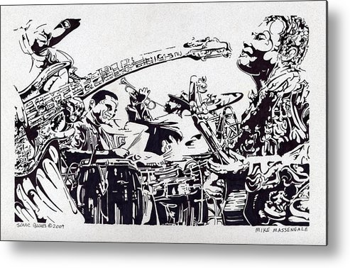 Black And White Metal Print featuring the drawing Sonic Blues by Mike Massengale