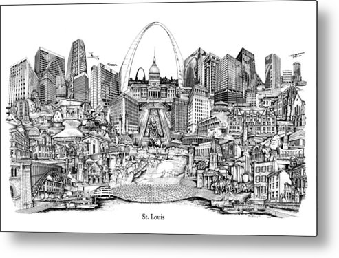 City Drawing Metal Print featuring the drawing St. Louis 4 by Dennis Bivens