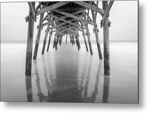 Long Exposure Metal Print featuring the photograph Surfside Pier Exposure by Charles Lawhon