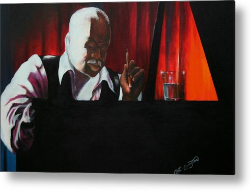 Jazz Musician Metal Print featuring the painting The Composer by Arthur Covington