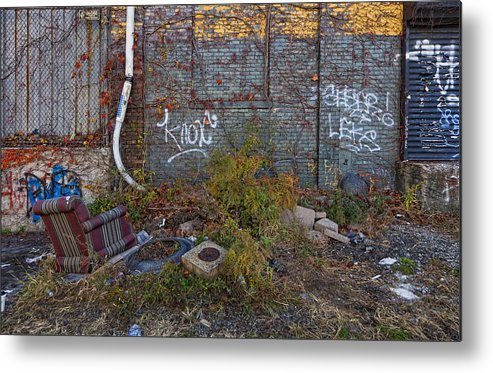 Abandoned Lot Metal Print featuring the photograph The Hipsters Patio Wiiliamsburg Brooklyn by Robert Ullmann