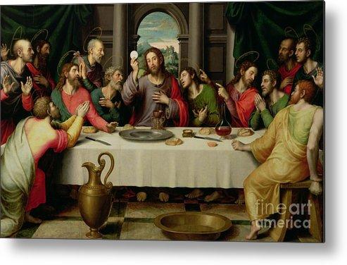 The Last Supper (oil On Panel) By Vicente Juan Macip (juan De Juanes) (c.1510-79) Metal Print featuring the painting The Last Supper by Vicente Juan Macip