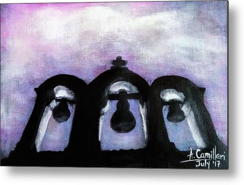 Metal Print featuring the painting The Three Bells by Anthony Camilleri