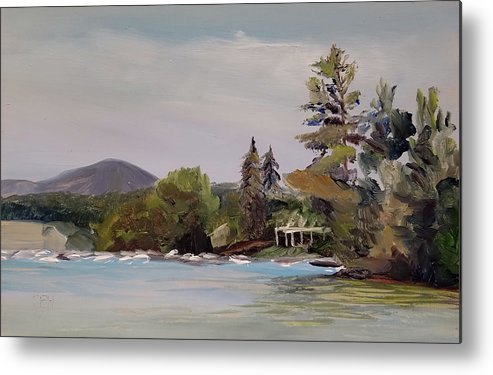 Wolfeboro Metal Print featuring the painting To Mt. Shaw by Susan E Hanna
