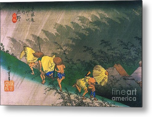 Pd Metal Print featuring the painting Travellers Surprised By Rain by Pg Reproductions