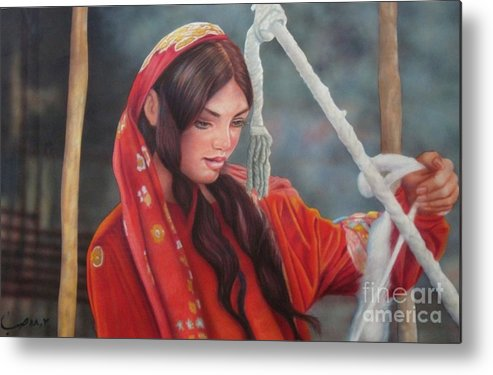 Portrait Metal Print featuring the pastel Tribal Woman by Saba Aghajan