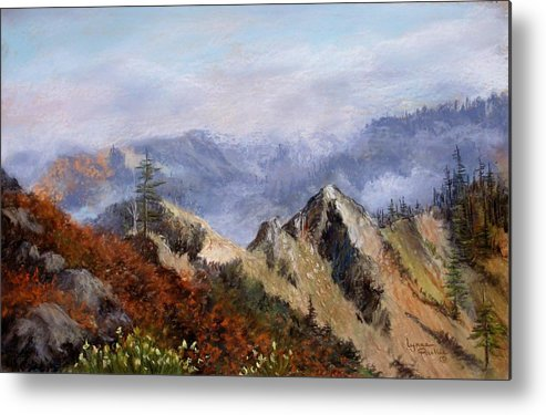 The Trinity Alps Of Northern California. Metal Print featuring the pastel Trinity Alps by Lynne Parker