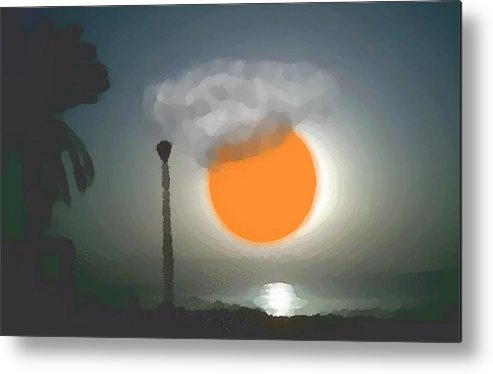 Urban.sea.sunset.sky.sun.water Sun Reflection.coast. Metal Print featuring the digital art Urban Sea Sunset by Dr Loifer Vladimir