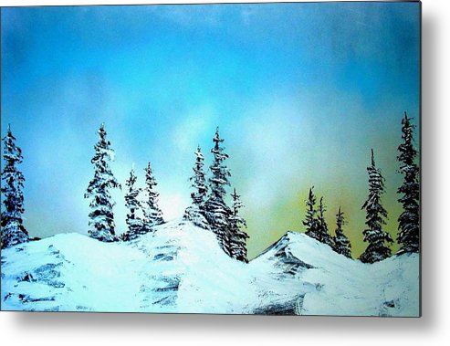 Landscape Metal Print featuring the painting Winter At Lake Tahoe In California by Ed Moore