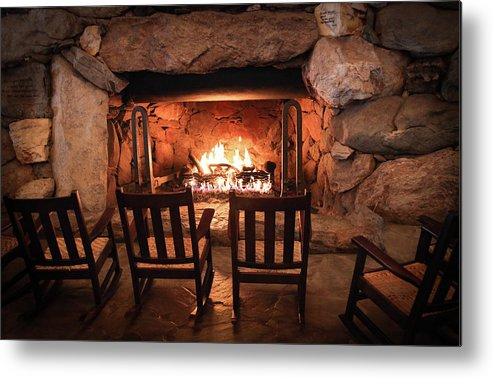 Grove Park Inn Metal Print featuring the photograph Winter Warmth by Karen Wiles