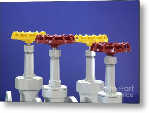 Actuator Metal Print featuring the photograph Hand Wheels For Industrial Valves by Yali Shi