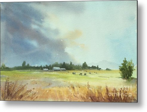 Lynden Metal Print featuring the painting Lynden Farm, Wa by Yohana Knobloch