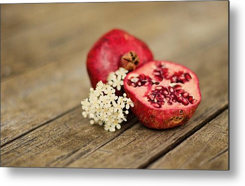 Wood Metal Print featuring the photograph Pomegranate And Flowers On Tabletop by Anna Hwatz Photography Find Me On Facebook