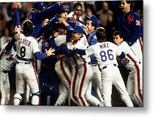 1980-1989 Metal Print featuring the photograph Red Sox V Mets by T.g. Higgins