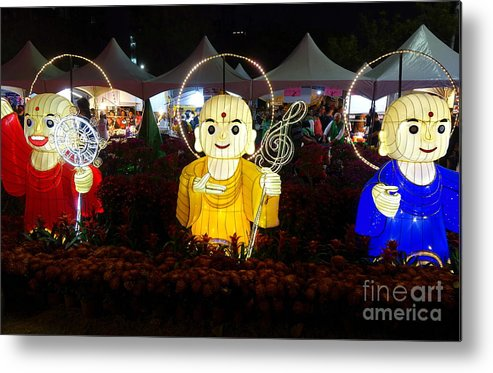 Taiwan Metal Print featuring the photograph Three Lanterns In The Shape Of Buddhist Monks by Yali Shi