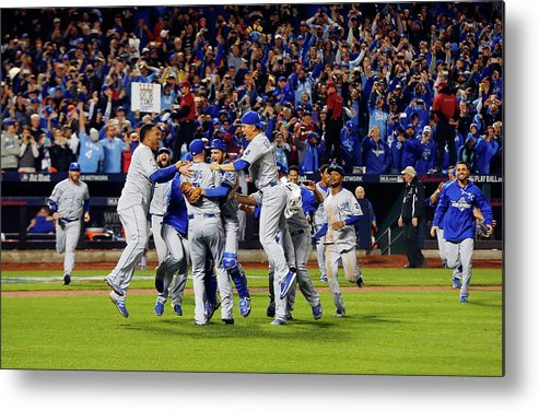 American League Baseball Metal Print featuring the photograph World Series - Kansas City Royals V New by Jim Mcisaac