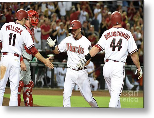 Second Inning Metal Print featuring the photograph David Peralta And Paul Goldschmidt by Norm Hall