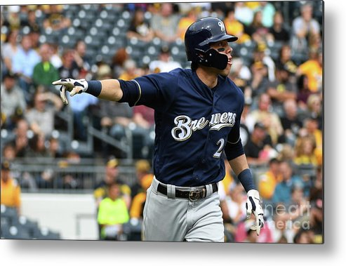 Second Inning Metal Print featuring the photograph Christian Yelich by Justin Berl
