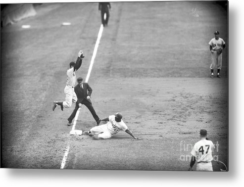 1950-1959 Metal Print featuring the photograph Jackie Robinson And Gil Mcdougald by Kidwiler Collection