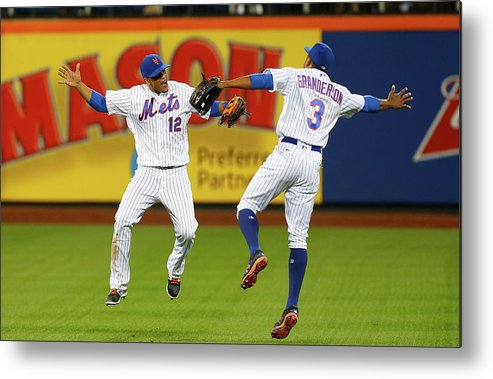 People Metal Print featuring the photograph Juan Lagares And Curtis Granderson by Jim Mcisaac