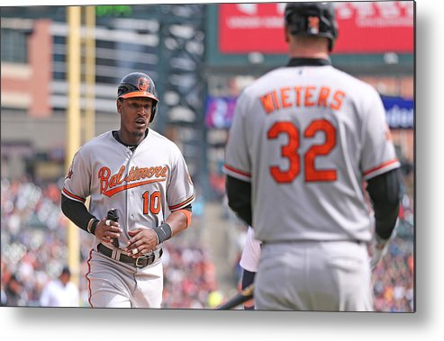 American League Baseball Metal Print featuring the photograph Nelson Cruz And Adam Jones by Leon Halip