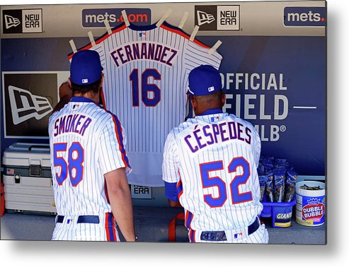 Hanging Metal Print featuring the photograph Yoenis Cespedes by Adam Hunger