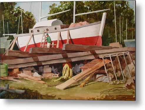 Boats Metal Print featuring the painting Second Time Around by Faye Ziegler
