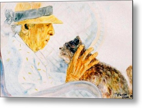 Marjory Metal Print featuring the painting Marjory And Her Cat by Ruth Mabee