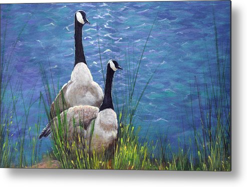 Landscape Metal Print featuring the painting Resting Geese by SueEllen Cowan