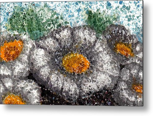 Watercolor Metal Print featuring the painting White Saguaro Cactus Blossom by Cynthia Ann Swan
