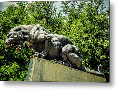 Action Metal Print featuring the photograph Black Panther Statue by Alex Grichenko