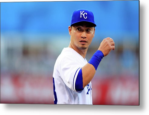 American League Baseball Metal Print featuring the photograph Colorado Rockies V Kansas City Royals by Jamie Squire