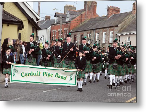Corduff Pipe Band Metal Print featuring the photograph Corduff Pipe Band St Patricks Day Parade Carrickmacross by Ros Drinkwater