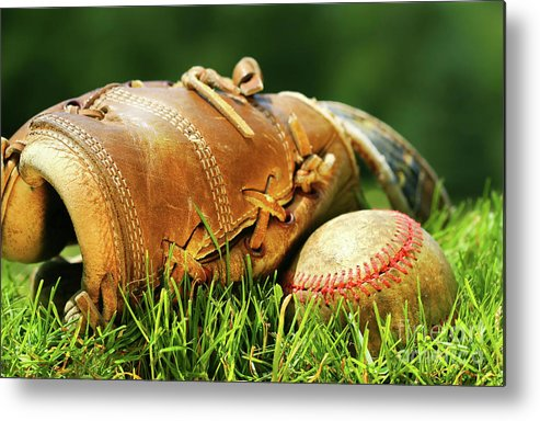 Ball Metal Print featuring the photograph Old Glove And Baseball by Sandra Cunningham