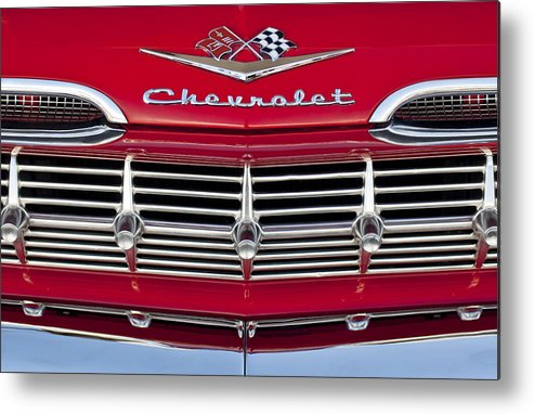 1959 Chevrolet Metal Print featuring the photograph 1959 Chevrolet Grille Ornament by Jill Reger