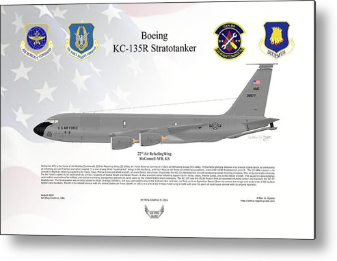 Boeing Metal Print featuring the digital art Boeing Kc-135r Stratotanker by Arthur Eggers