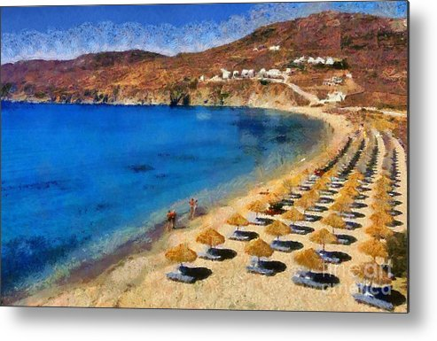 Mykonos; Mikonos; Beach; Elia; People; Tourists; Walk; Walking; Greece; Hellas; Cyclades; Kyklades; Greek; Hellenic; Aegean; Europe; European; Islands; Sand; Sea; Umbrellas; Sunshades; Island; Parasols; Sun Beds; Sea Beds; Clear Water; Transparent Water; Holidays; Vacation; Travel; Trip; Voyage; Journey; Tourism; Touristic; Summer; Sunny; Paint; Painting; Paintings Metal Print featuring the painting Elia Beach In Mykonos Island by George Atsametakis