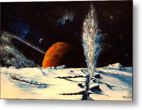 Landscape. Geyser Metal Print featuring the painting Frozen Geyser by Murphy Elliott
