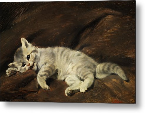 Kitten Metal Print featuring the painting Kitten by Julius Adam