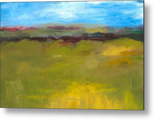 Abstract Expressionism Metal Print featuring the painting Abstract Landscape - The Highway Series by Michelle Calkins