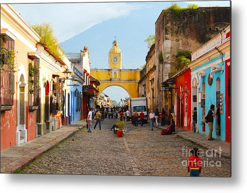Guatemala Metal Print featuring the photograph Antigua Guatemala Clock by Carey Chen