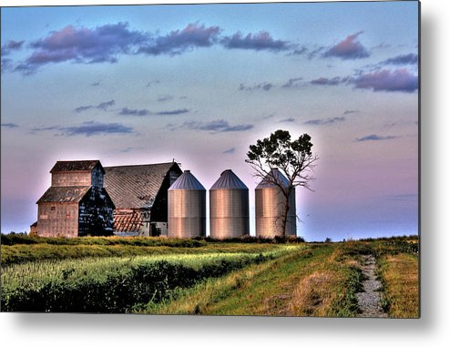 Red Barns Metal Print featuring the photograph Barn Silos by David Matthews