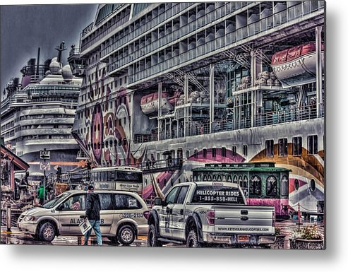 Cruise Ships Metal Print featuring the photograph Busy Dock by Timothy Latta