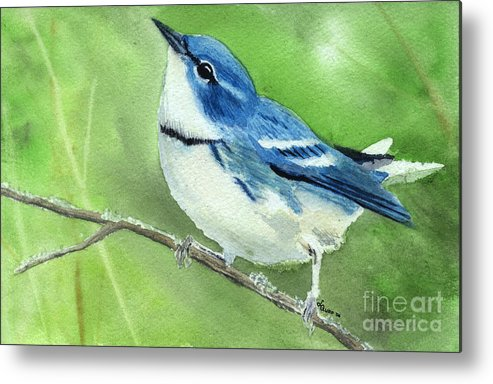 Bird Metal Print featuring the painting Cerulean Warbler by Lynn Quinn