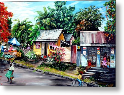 Landscape Painting Caribbean Painting Shop Trinidad Tobago Poinciana Painting Market Caribbean Market Painting Tropical Painting Metal Print featuring the painting Chins Parlour   by Karin Dawn Kelshall- Best