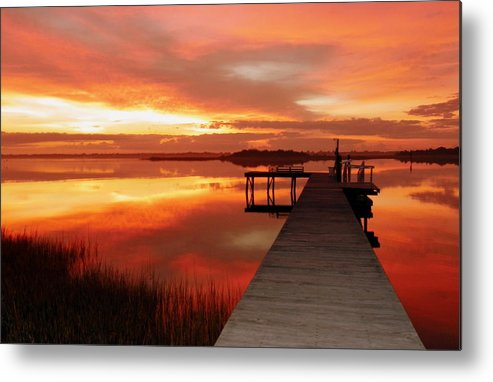 Orange Waterscapes Metal Print featuring the photograph Dawn Of New Year by Karen Wiles