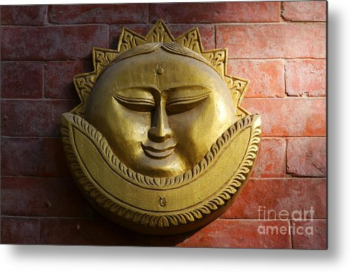 Sun Metal Print featuring the photograph Decorative Wall Plaque In Kathmandu Nepal by Robert Preston