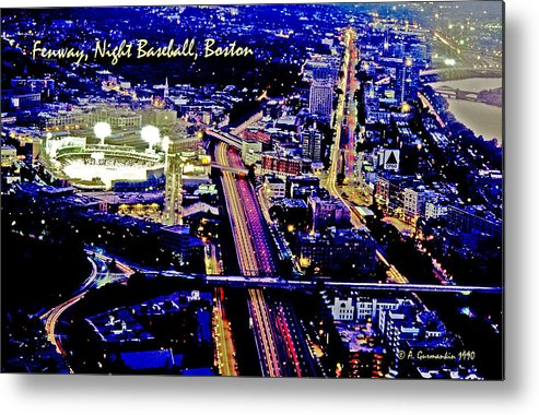 American Infrastructure Metal Print featuring the photograph Fenway Park Baseball Night Game Digital Art by A Gurmankin